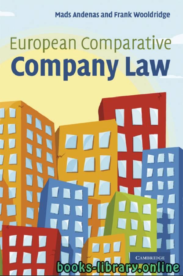❞ كتاب EUROPEAN COMPARATIVE COMPANY LAW ❝  ⏤ مادس انديناس و فرانك ولدريدج