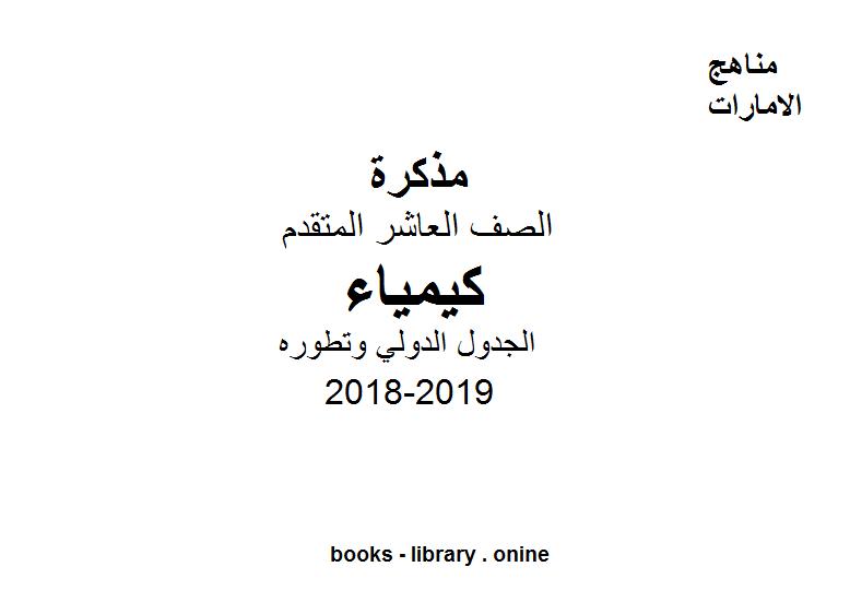 ❞ مذكّرة الصف العاشر المتقدم, الفصل الأول, كيمياء, 2018-2019, الجدول الدولي وتطوره ❝  ⏤ مؤلف غير معروف