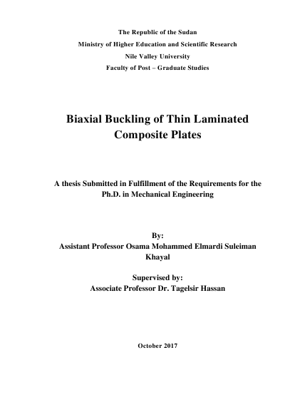 Biaxial Buckling of Thin Laminated Composite Plates