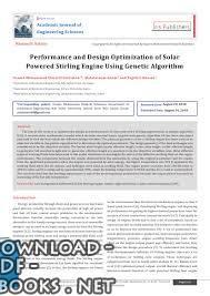Performance and Design Optimization of Solar Powered Stirling Engine Using Genetic Algorithm