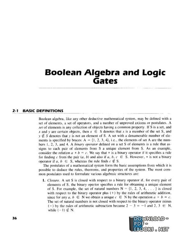 ❞ كتاب 02 – Boolean Algebra and Logic Gates ❝  ⏤ إم موريس مانو
