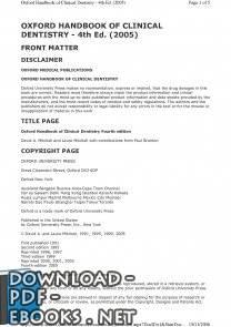 ❞ كتاب OXFORD HANDBOOK OF CLINICAL DENTISTRY - 4th Ed. (2005) ❝