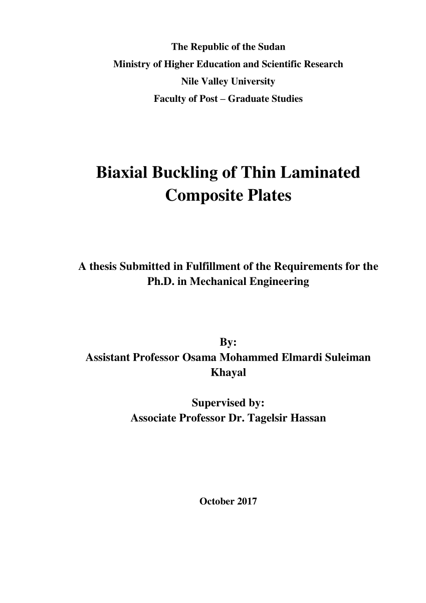 PHD Final Research Biaxial Buckling of Thin Laminated Composite Plates