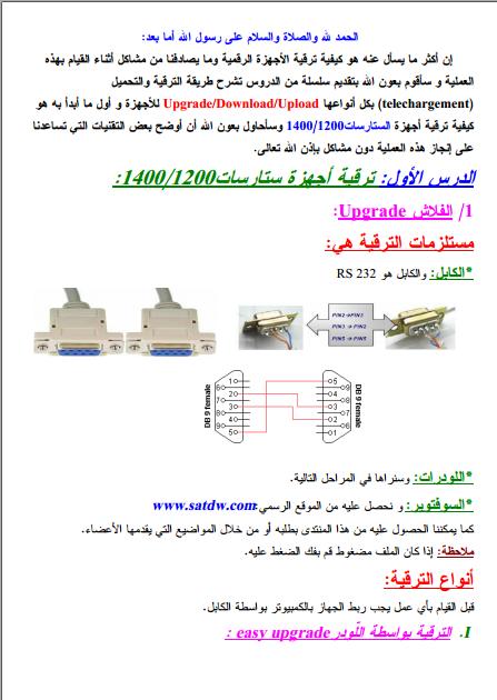 كتاب طريقة تحديث أجهزة الإستقبال الرقمية SR X-1200-1400 وأشباهها