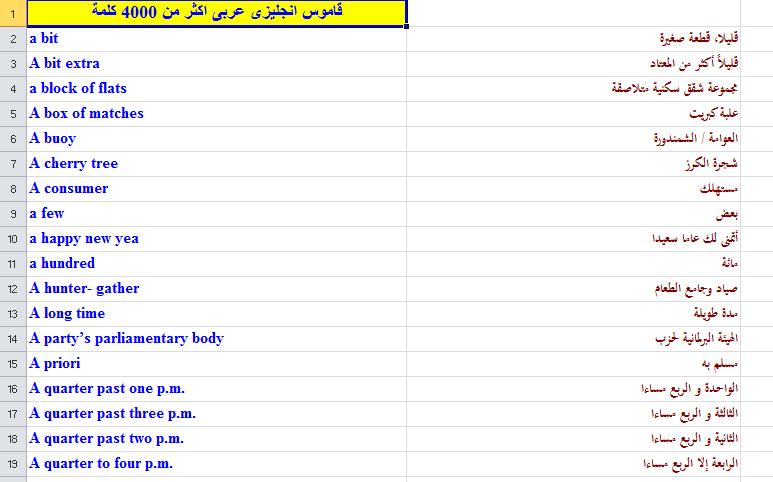 كتاب قاموس انجليزي عربي صغير مع معلومات عامة
