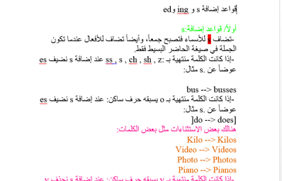 كتاب قواعد إضافة s و ing و ed