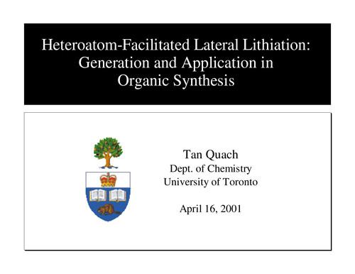 كتاب  Heteroatom-Facilitated Lateral Lithiation