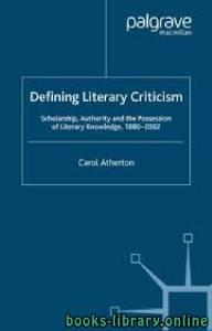 قراءة و تحميل كتاب Defining Literary Criticism PDF