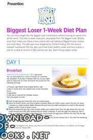 قراءة و تحميل كتاب Biggest Loser 1-Week Diet Plan PDF PDF